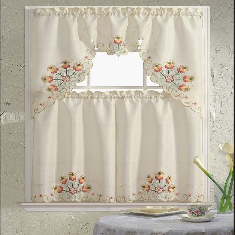 BH Home Floral Embroidered 3-Piece Kitchen Window Curtain