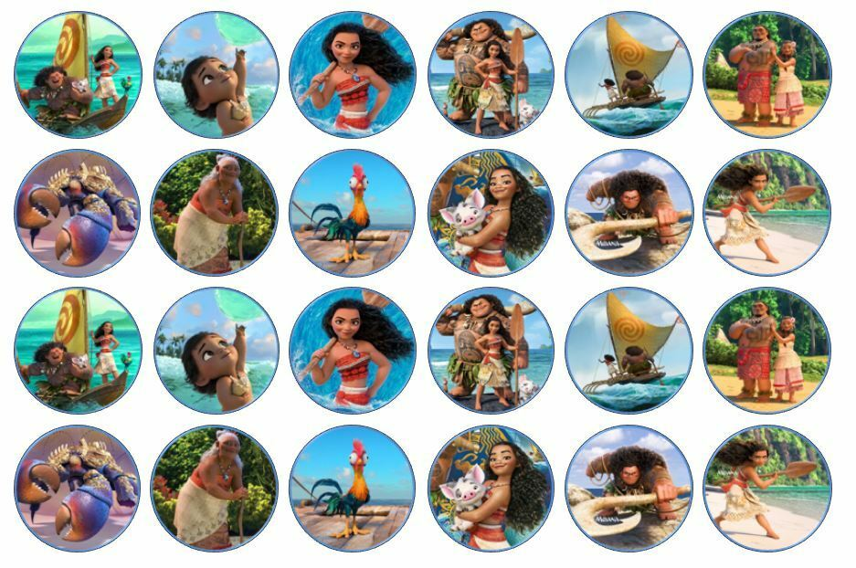 48 X 3cm Moana Cup Cake Toppers Edible Rice Wafer Paper Ebay