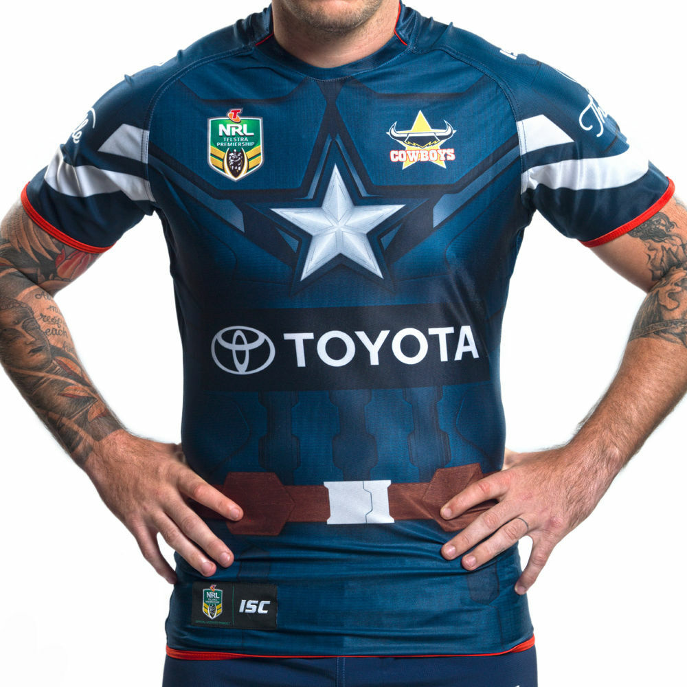 0deab9e9 Details about North Queensland Cowboys Captain America Marvel Jersey Adults  Ladies Kids