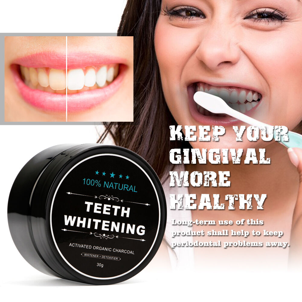 natural activated organic charcoal teeth whitening powder stain remover yellow ebay. Black Bedroom Furniture Sets. Home Design Ideas