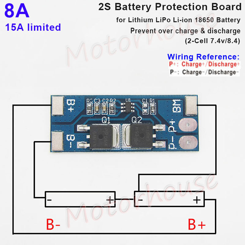 2S 8A 7.4V 8.4V BMS Protection PCB Board for 18650 Lithium ...