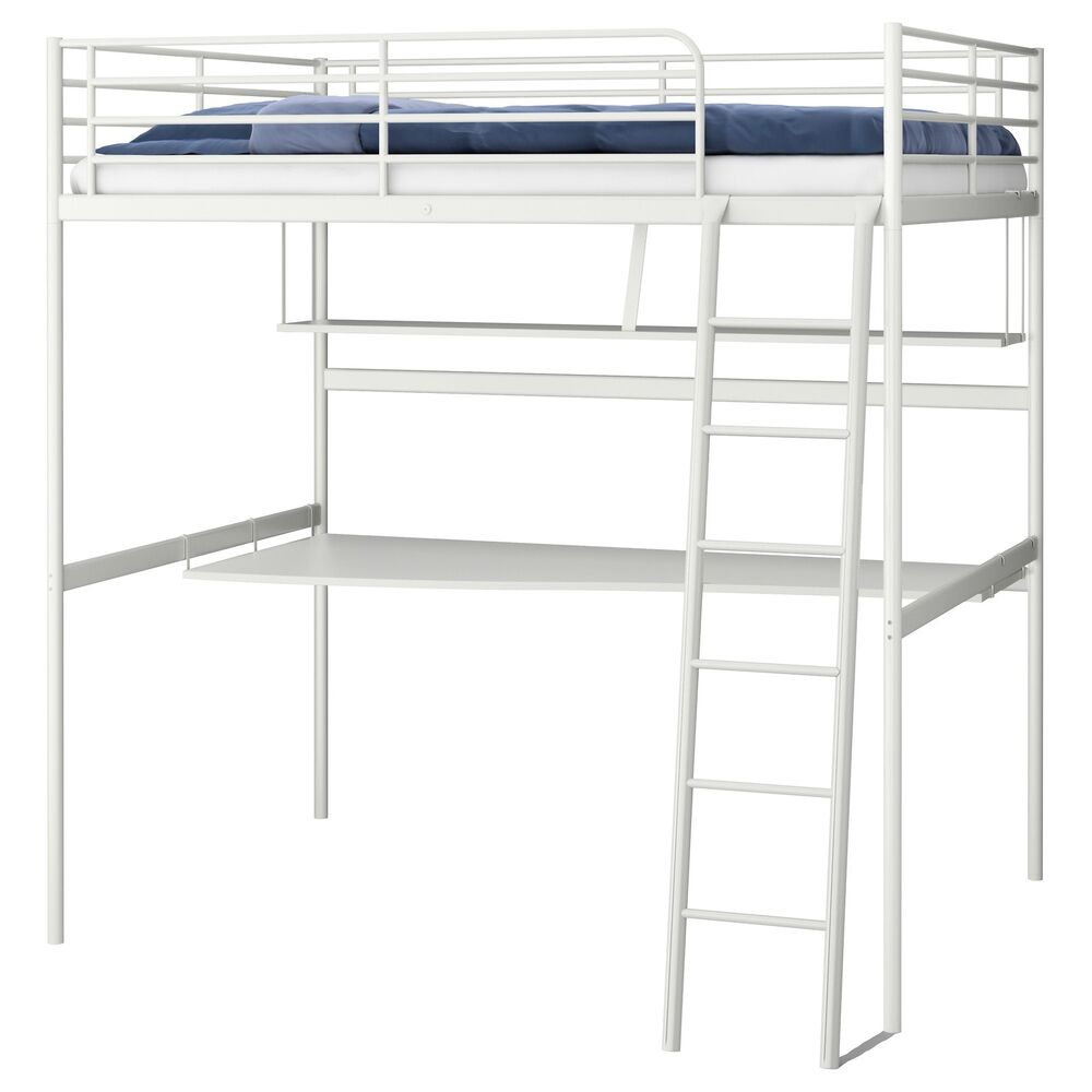 ikea tromso svarta loft bed frame metal desk and shelf top bunk bed high sleeper ebay. Black Bedroom Furniture Sets. Home Design Ideas