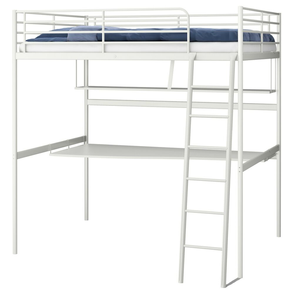 ikea tromso svarta loft bed frame metal desk and shelf top bunk bed