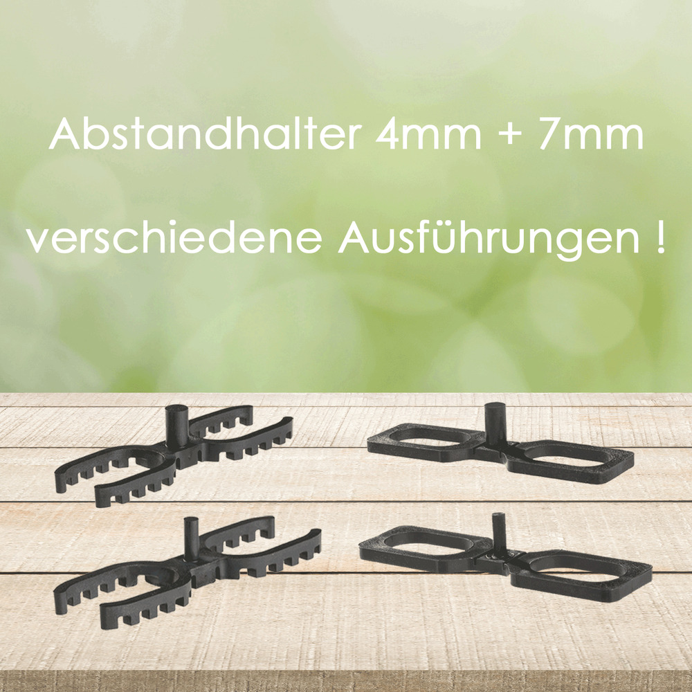 400 abstandhalter 4 mm 7 mm f r terrassendielen distanzhalter abstandshalter ebay. Black Bedroom Furniture Sets. Home Design Ideas
