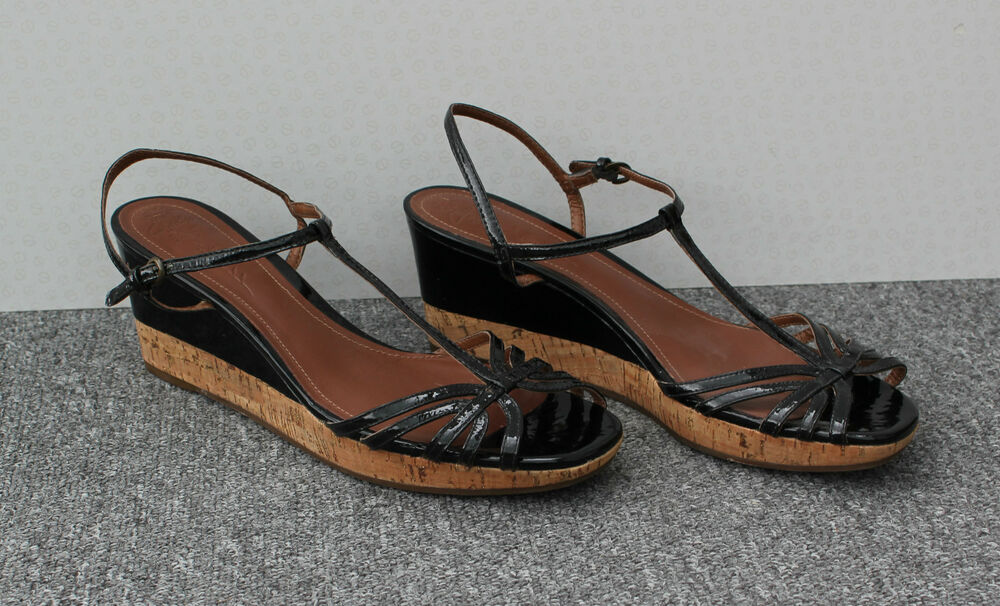 clarks black patent wedge sandals size 7 ebay