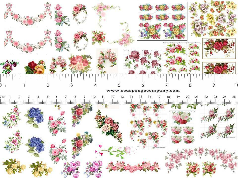 Dollhouse Miniature Shabby Chic Decals 1 12 Scale Floral