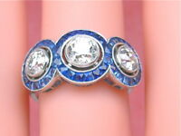 ANTIQUE ART DECO 1.72ctw MINE DIAMOND SAPPHIRE HALO 3 STONE PLATINUM RING 1930