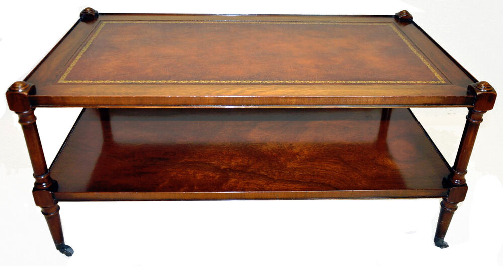 Stunning Weiman Regency Style Mahogany Leather Top Coffee