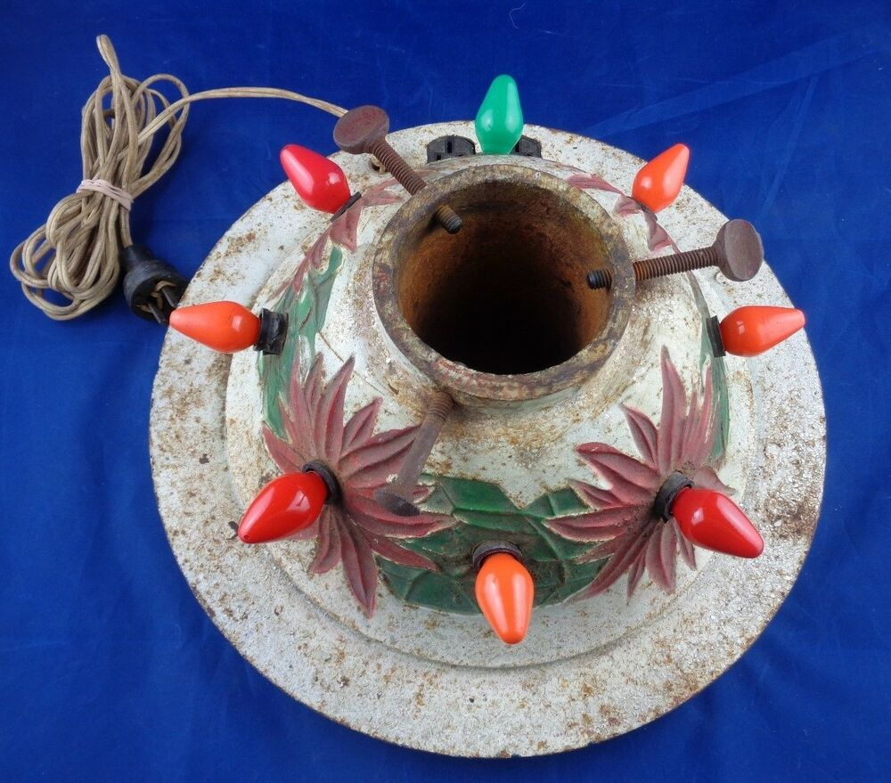 1920s Vtg Cast Iron Lighted Christmas Tree Stand Outlets