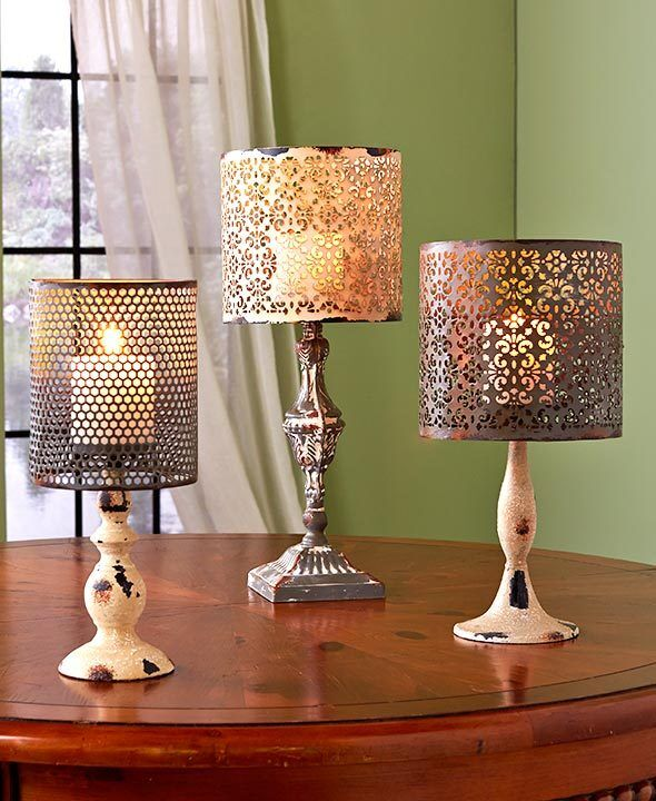Chic Lamps: Vintage Metal Candle LED Candle Lamps Table Candle Holder
