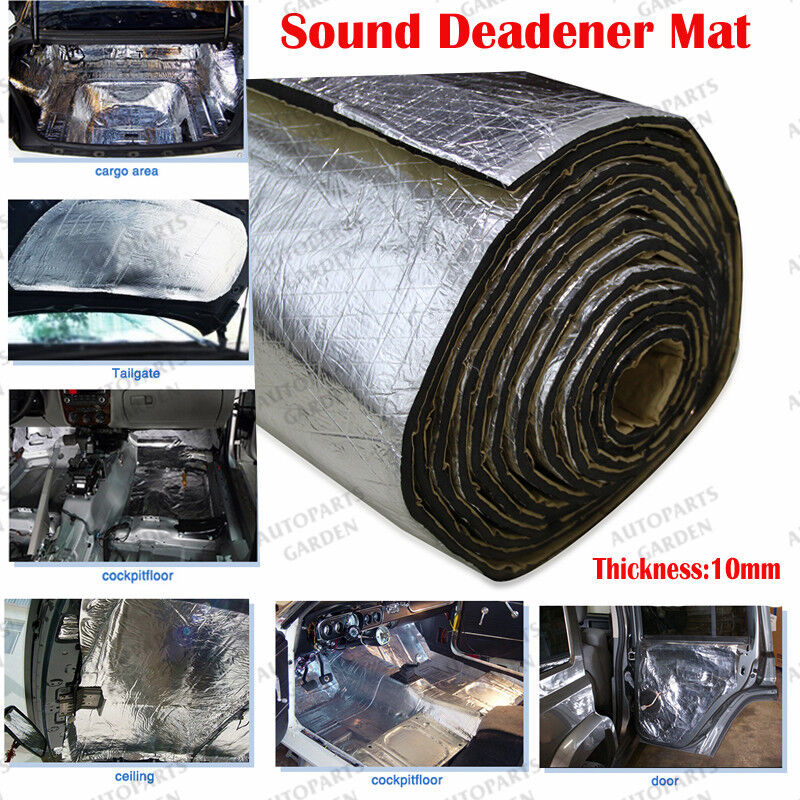 5sqft 10mm car door hood engine trunk heat noise sound deadener insulation mat ebay. Black Bedroom Furniture Sets. Home Design Ideas