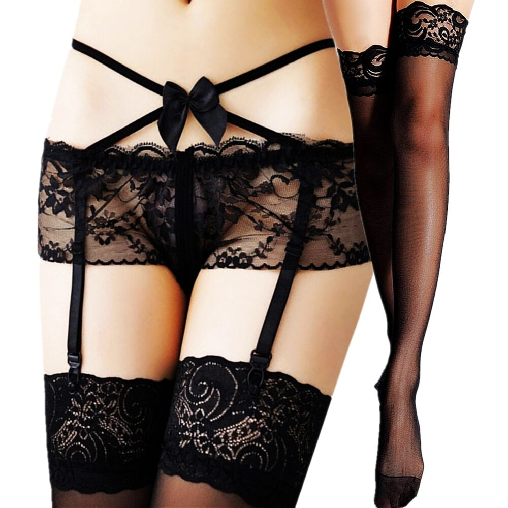 c71afe98731 Details about Women Thigh-Highs Stockings Nylon Fashion Lace Top Garter  Belt Suspender Hold Up