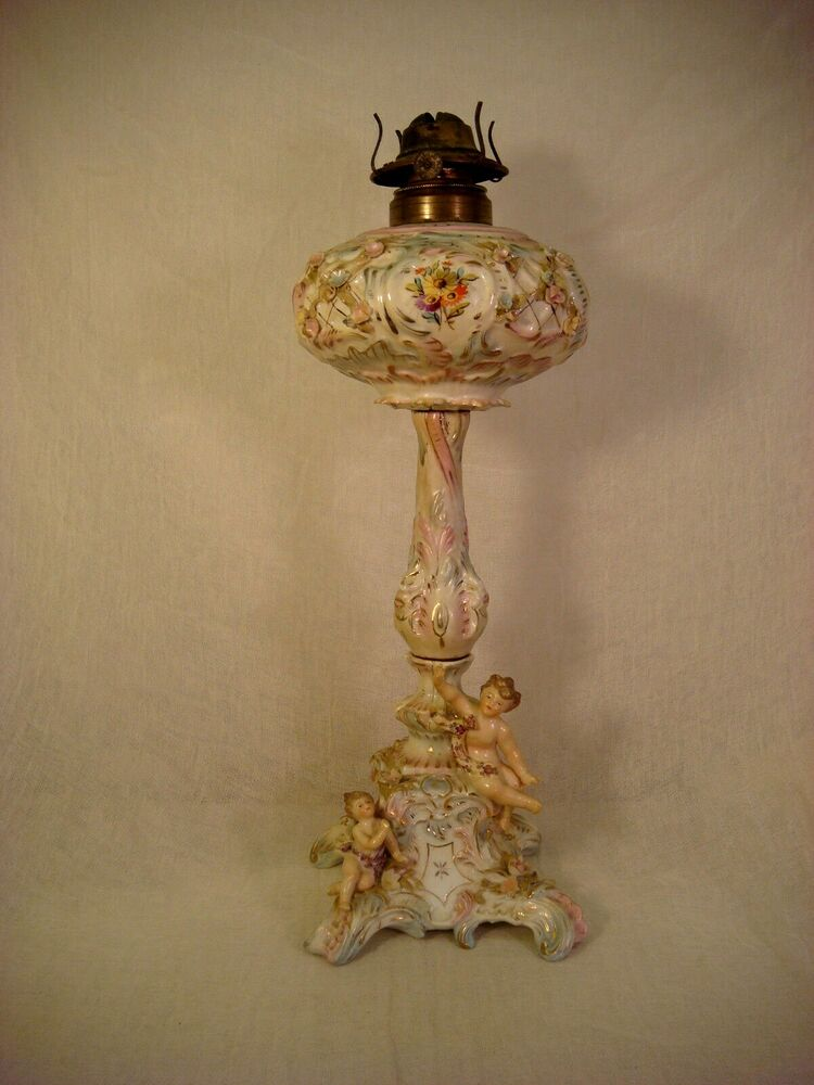 Putti Cherub Oil Table Parlor Lamp 19 1 2 Quot Tall Floral