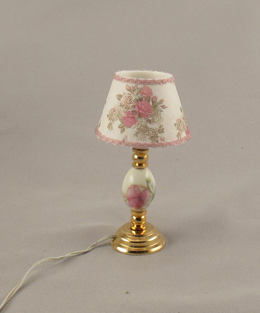 Dollhouse miniature pink floral ceramic table electric for Light up flower lamp