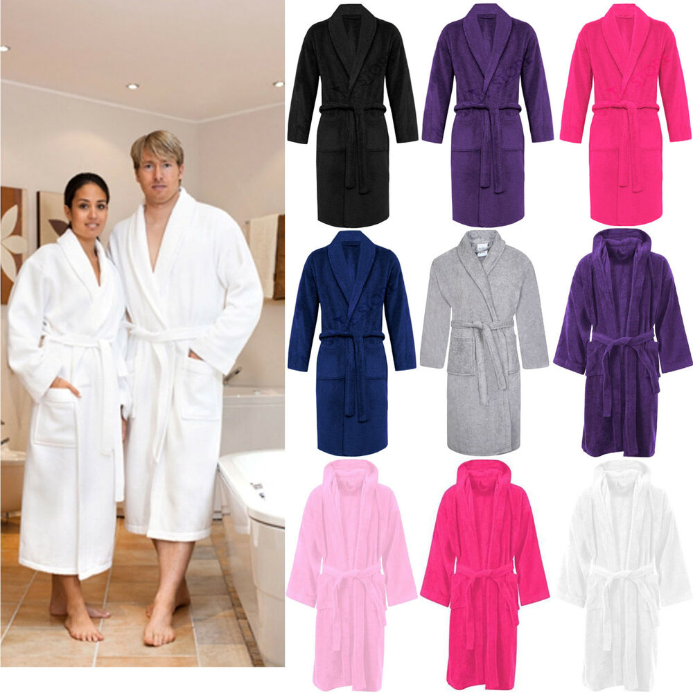 Dressing Gowns And Robes: 100% LUXURY EGYPTIAN COTTON TOWELLING BATH ROBE UNISEX