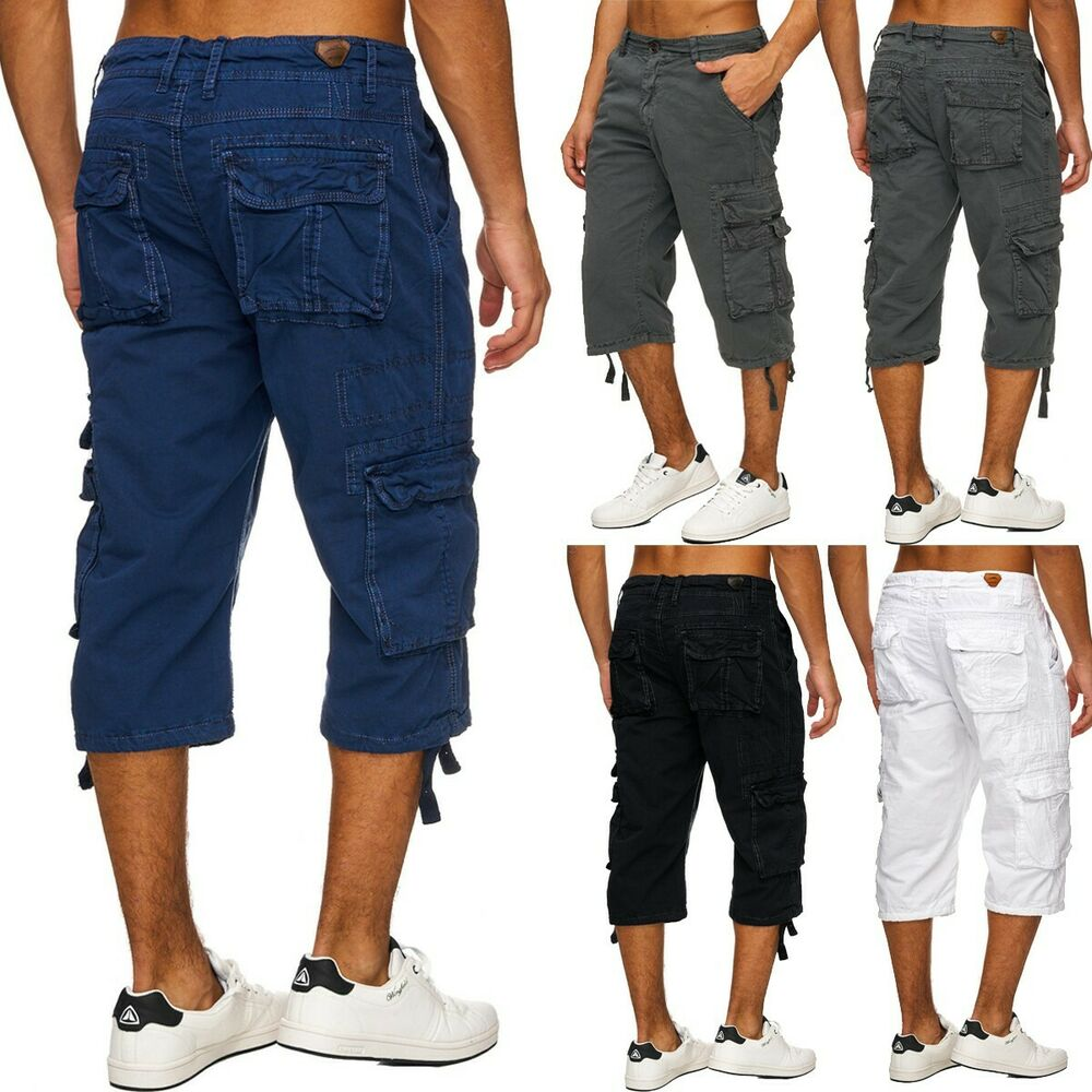herren cargo shorts kurze hosen freizeit caprihose allrounder bermudas ebay. Black Bedroom Furniture Sets. Home Design Ideas