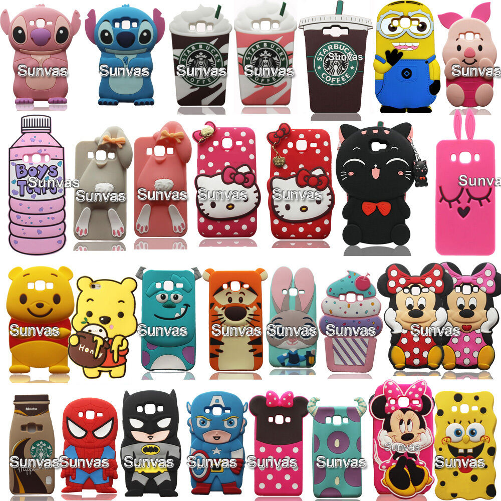 3d cartoon soft silicone case back cover phone skin for for 3d decoration for phone cases