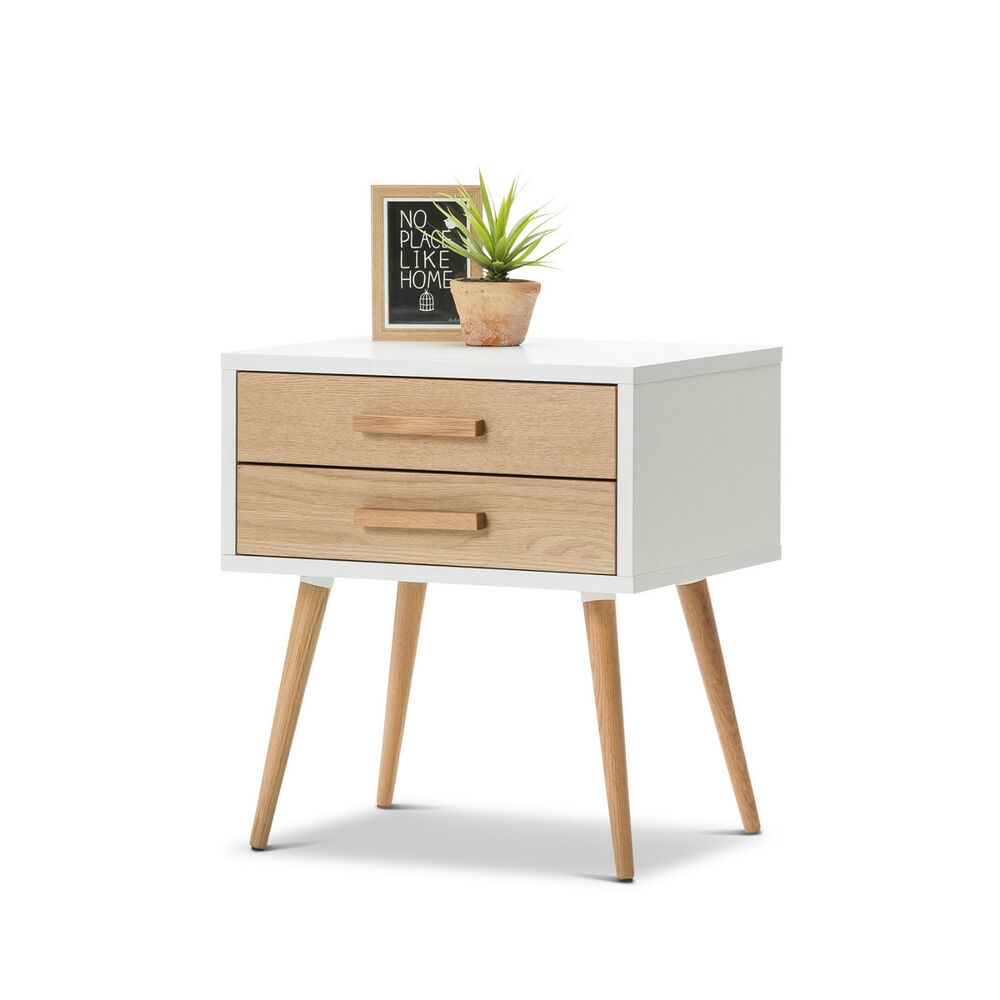Scandinavian danish retro modern timber bed side table 2 drw storage w oak legs ebay - Contemporary side tables with storage ...