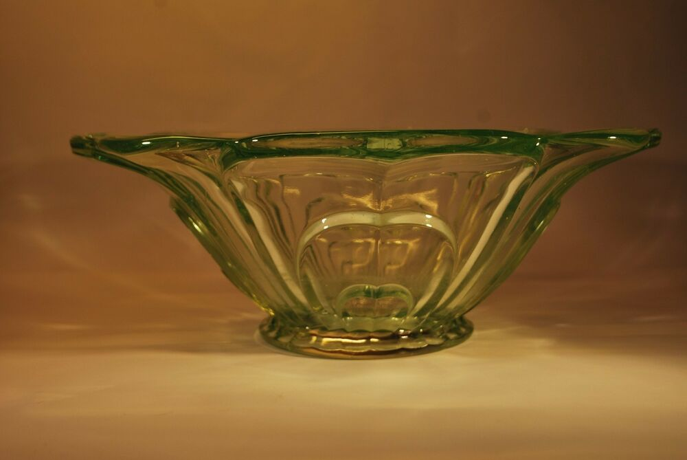 large deco green uranium glass bowl ebay