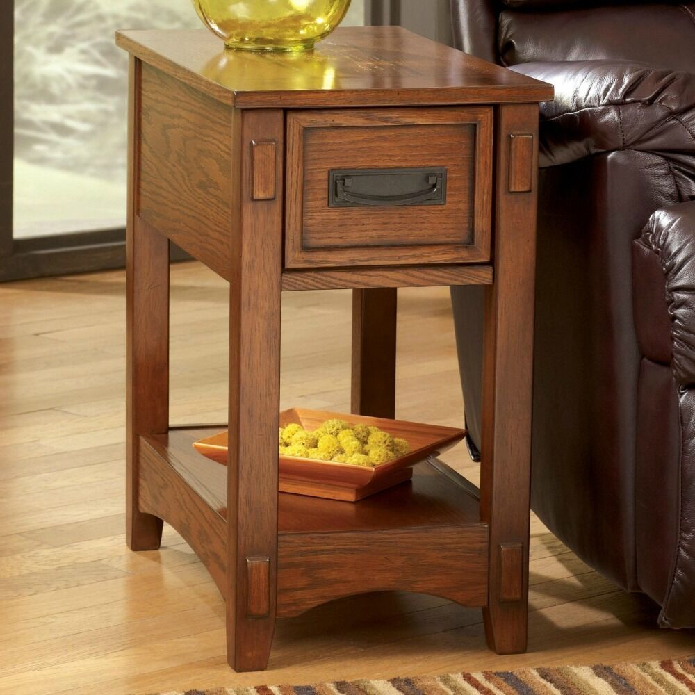 Mission oak side table end furniture wood drawer sofa for Sofa side table