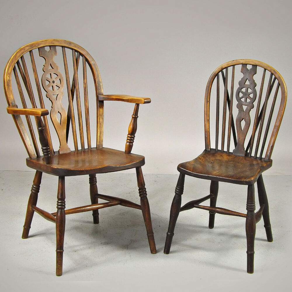 Antique Windsor Chair Wheelback Elm Seat C1860