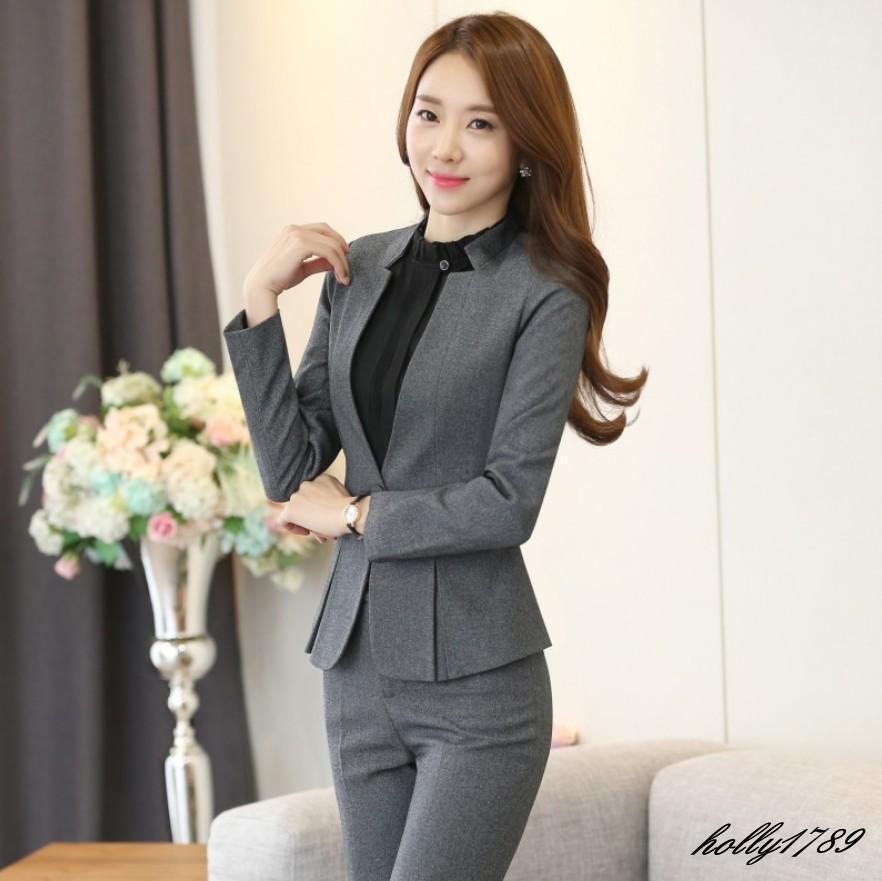 Women's Work Formal Business Office Lady Stand Collar Pant ...