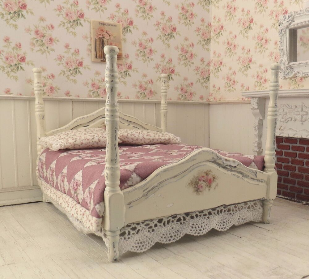 Dollhouse Miniature Shabby Chic Dressed 4 Poster Bed Pink
