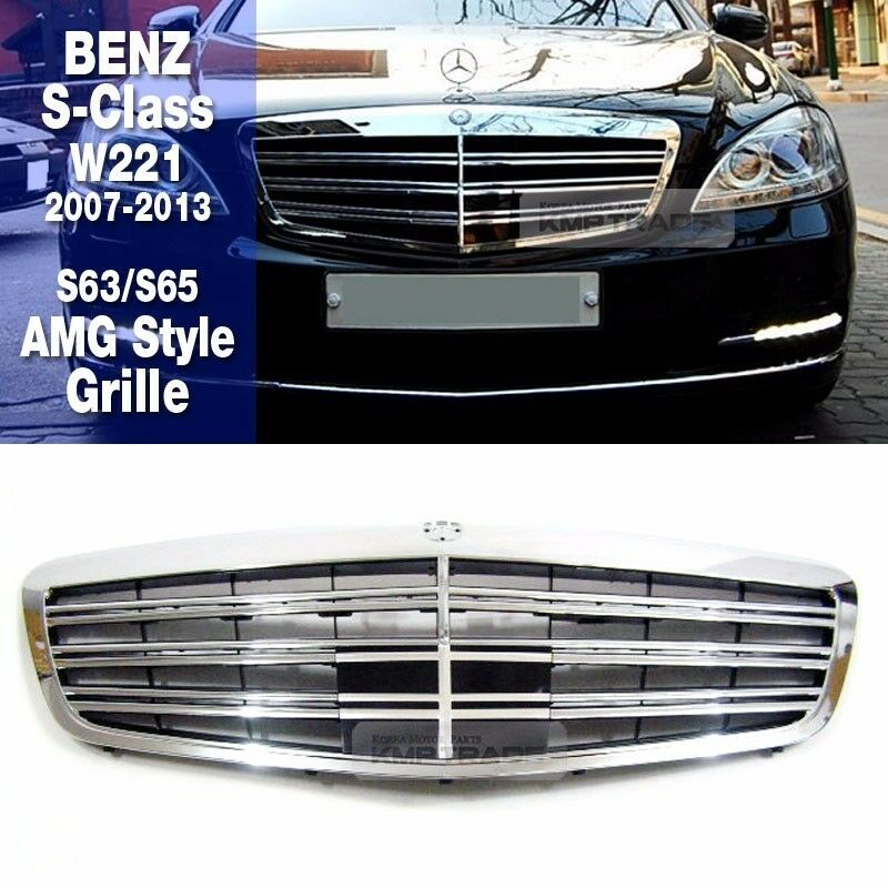 S63 s65 amg style front chrome grille for mercedes benz for Mercedes benz amg accessories parts