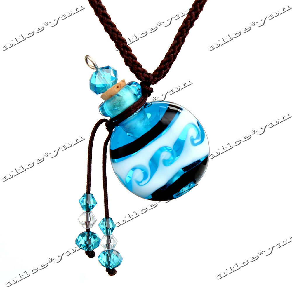 Vial Necklace For Ashes: Murano Glass Small Blue Round Oil Ashes Urn Bottle Cork