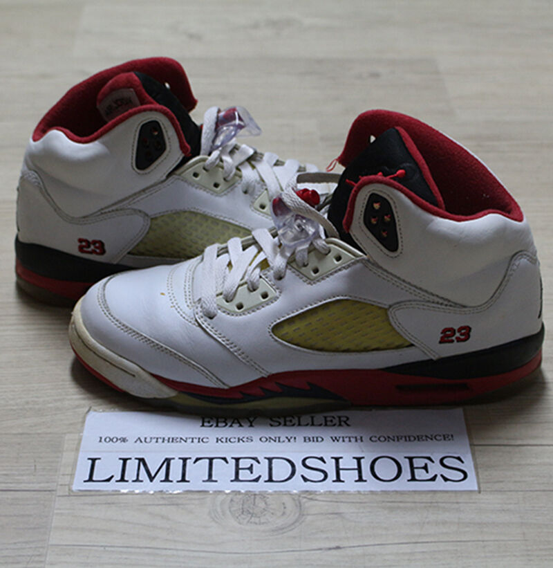 hot sale online b06e3 dcc1e Details about NIKE AIR JORDAN 5 V RETRO GS WHITE FIRE RED 134092-162 US 6Y  fear laser quai 54