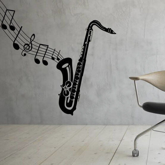 Music Wall Decal Saxophone Vinyl Sticker Music Notes Interior Art Decor 25mu Ebay