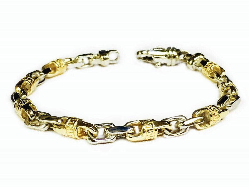 18k solid two tone gold handmade link men 39 s chain bracelet. Black Bedroom Furniture Sets. Home Design Ideas