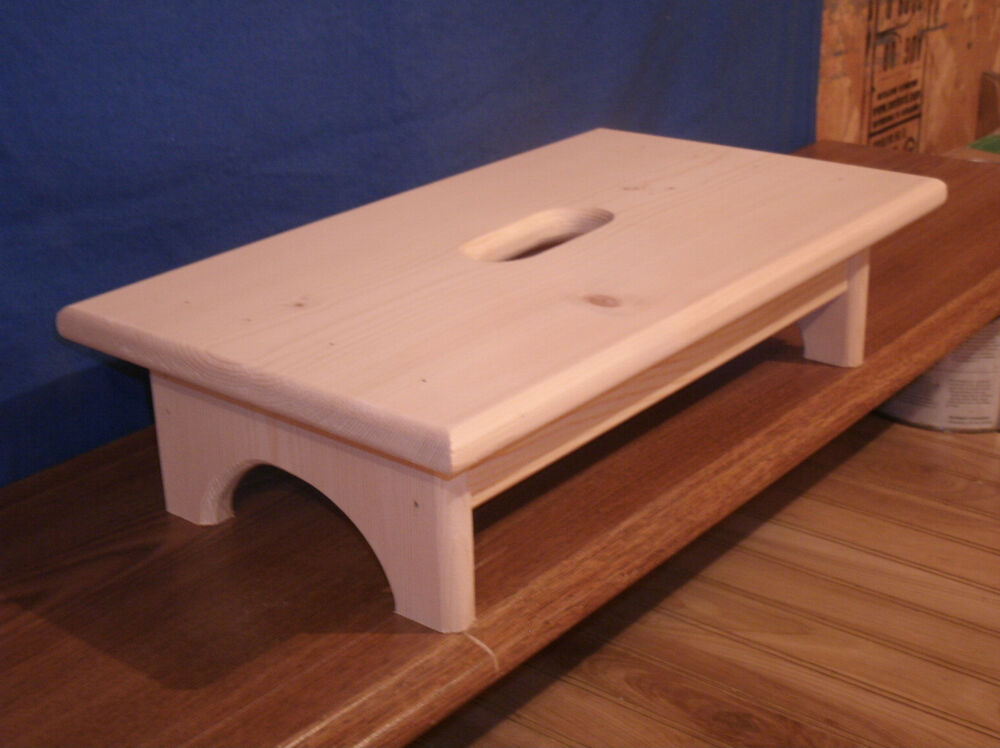wooden step stool rustic step stool 4 unfinished with hand hole ebay. Black Bedroom Furniture Sets. Home Design Ideas