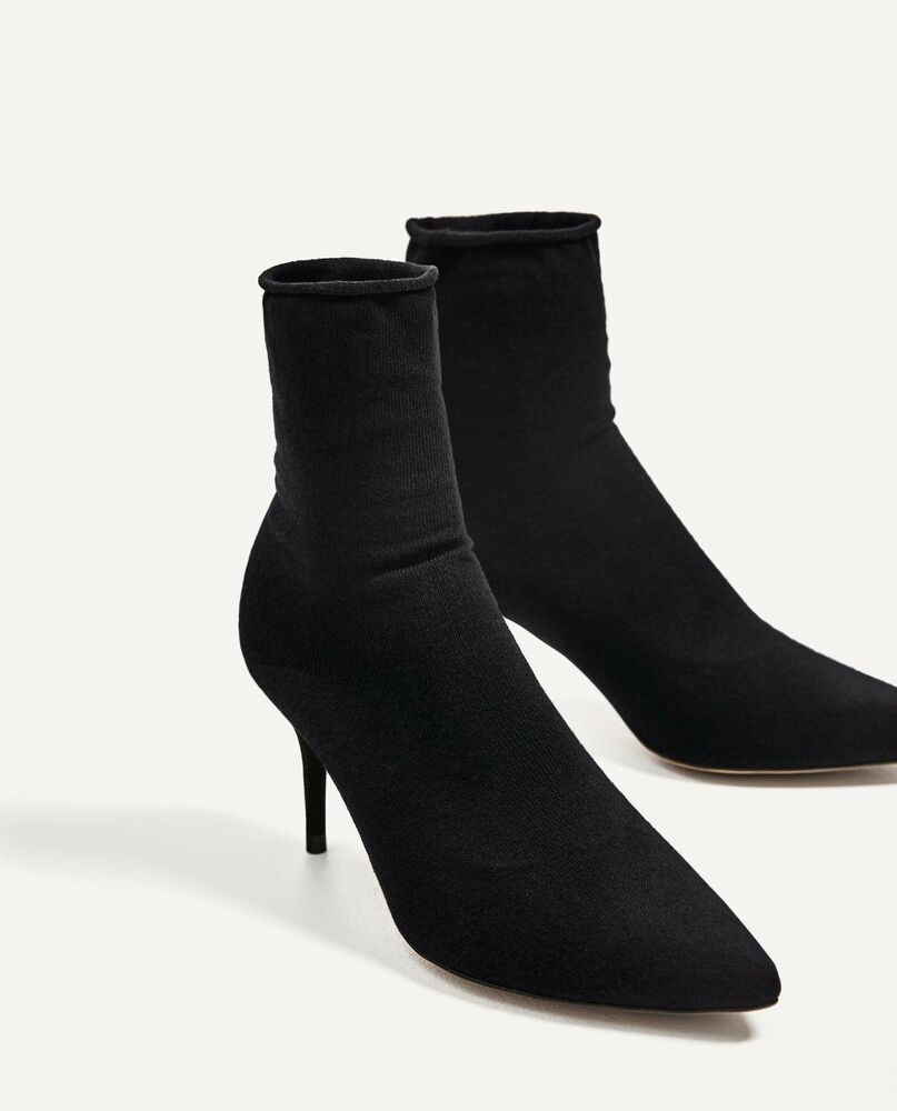 sock boots vogue zara new ss17 high heel sock style ankle boots 2117 201 ebay