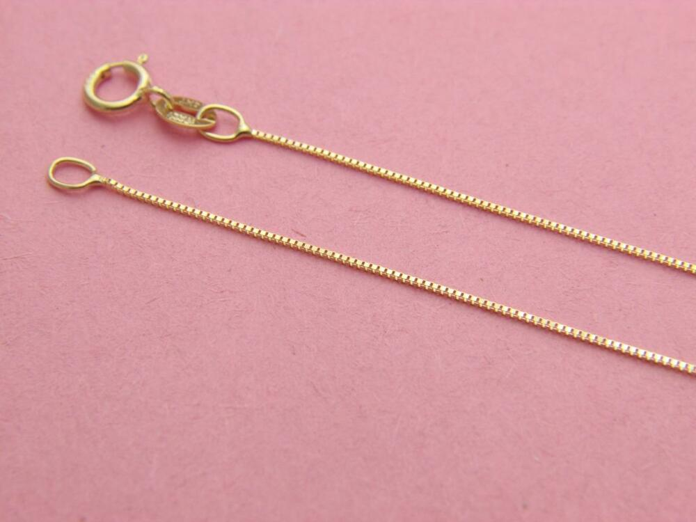 Solid 14K Yellow Gold BOX Chain Necklace 0.65mm real gold ...