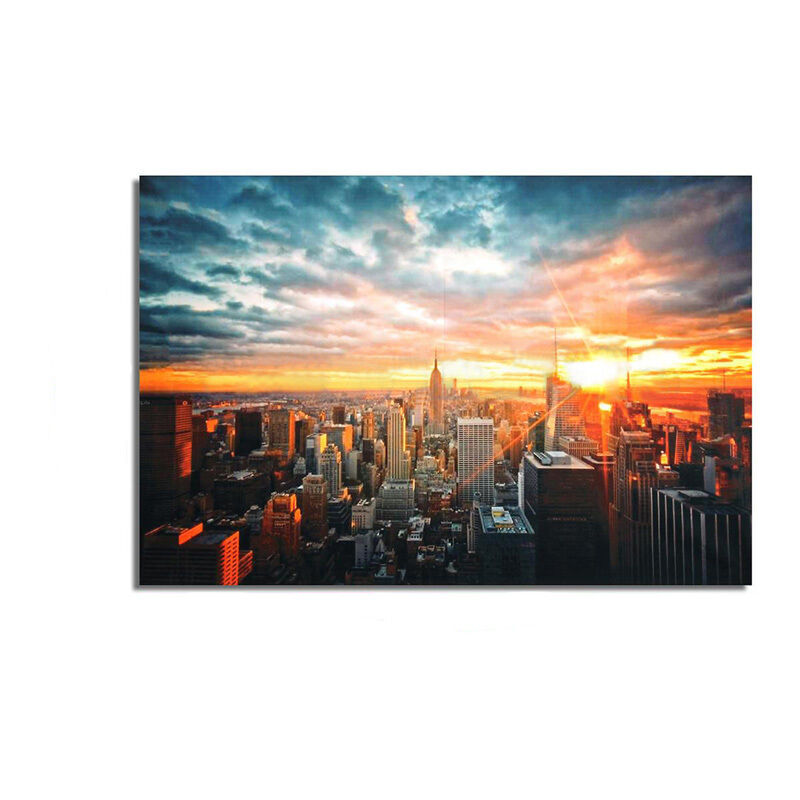New York City Sunset Cityscape Silk Cloth Poster Picture