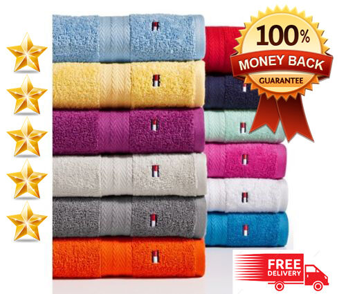 Washcloths History: Tommy Hilfiger Bath Towel Collection 100% Cotton