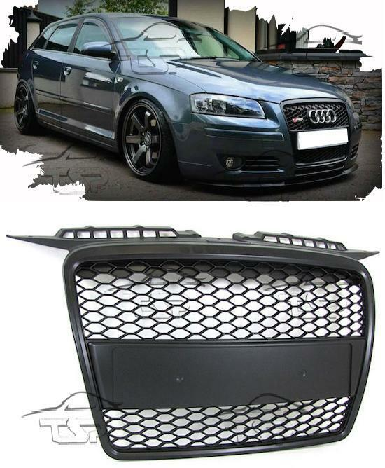 front black grill for audi a3 8p 05 08 sport look spoiler. Black Bedroom Furniture Sets. Home Design Ideas