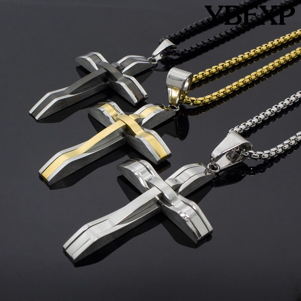 24 men 39 s black silver gold stainless steel jesus cross for Black and blue jewelry cross necklace