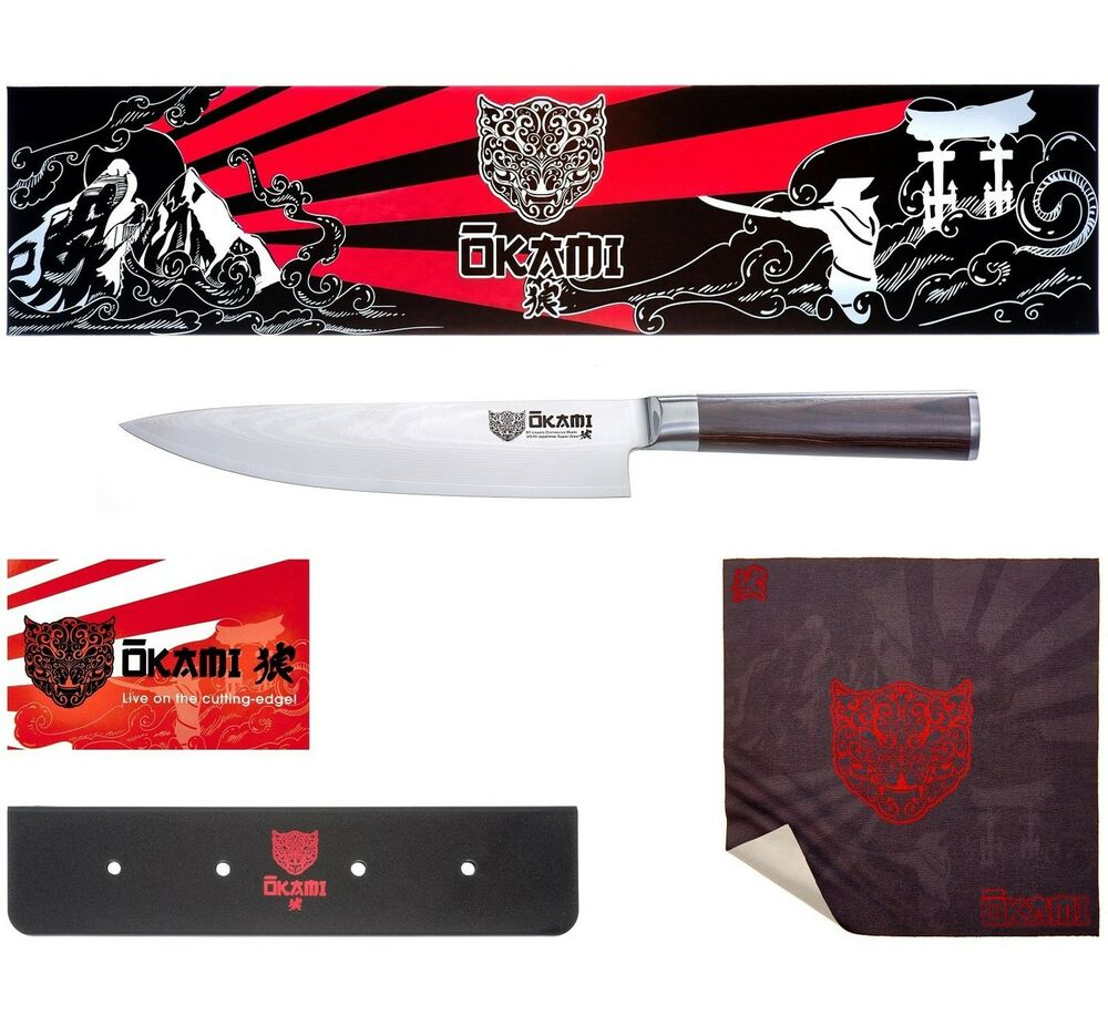 okami knives 8 inch japanese chef 39 s knife premium damascus blade ebay. Black Bedroom Furniture Sets. Home Design Ideas