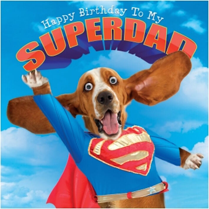 Gogglies 3d Eyes Superdad Birthdaycard Doggy Funny Humorous1st Pp
