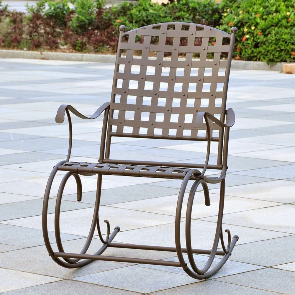 rocking chair outdoor patio wrought iron rocker garden metal balcony deck pool ebay. Black Bedroom Furniture Sets. Home Design Ideas