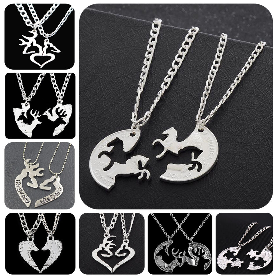 Popular Charm Bracelets 2: 2P Animal Puzzle Horse Deer Heart Charm Pendant Necklace