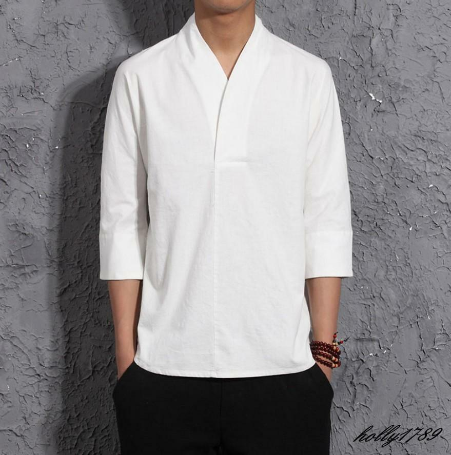 Vintage mens linen cotton casual tang suit 3 4 sleeve for Cool mens casual shirts