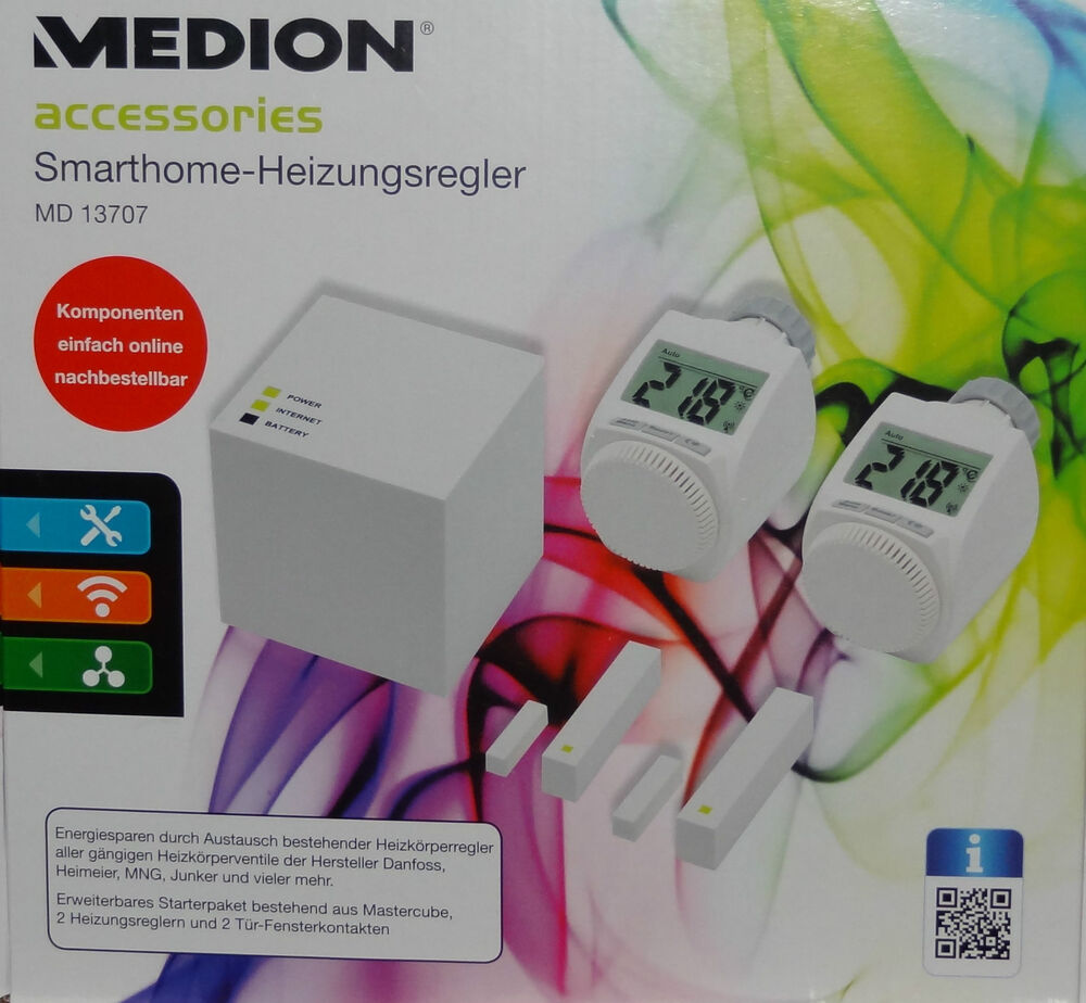 medion md 13707 smarthome heizk rperthermostat 2stck heizungsregler per app ebay. Black Bedroom Furniture Sets. Home Design Ideas