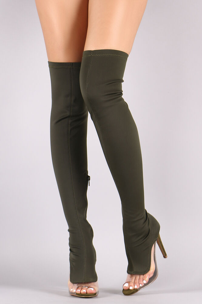 Thigh High Over Knee Clear High Heel Open Peep Toe Boots