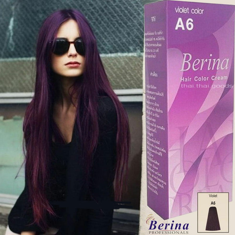 Berina A6 Purple Violet Permanent Hair Dye Color Cream ...