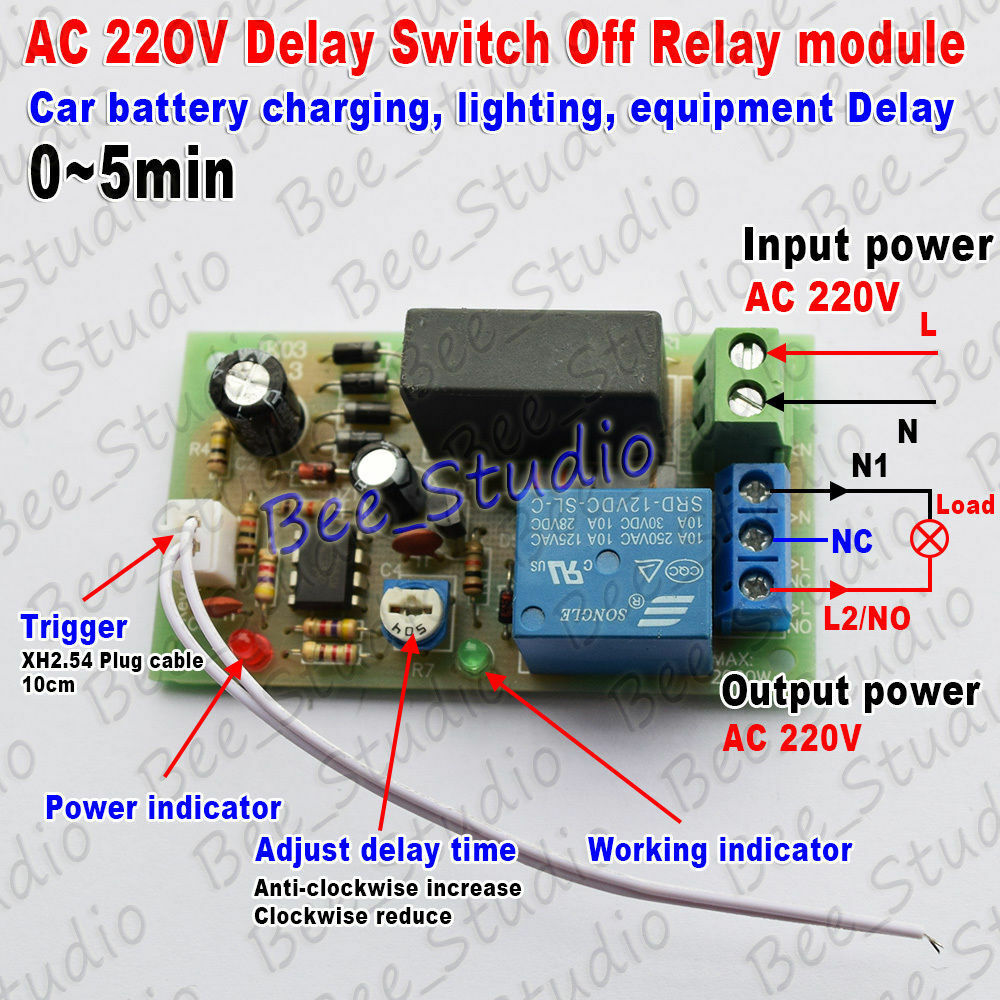 Ac 220v 230v 240v Trigger Delay Timing Timer Relay Switch Delay Turn Off 0