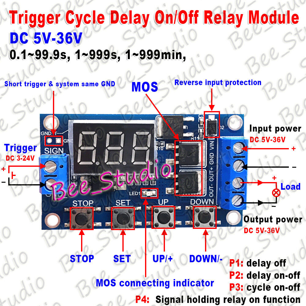 Dc 5v 9v 12v 24v Led Display Cycle Delay Timer Relay