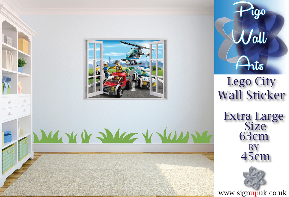 Lego wall sticker lego city 3d window view wall stickers art decal mural ebay